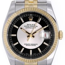 Rolex Datejust Men's 2-Tone Steel Gold Watch Silver/Black...