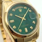 Rolex Day-Date 18K Gelbgold Day Date Green Dial Diamonds LC100