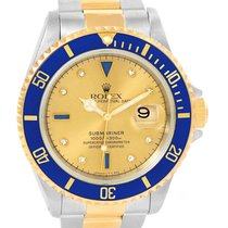 롤렉스 (Rolex) Submariner Steel Gold Diamond Sapphire Serti Dial...