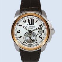 Cartier Calibre de Cartier Stahl Rotgold weiß Leder -NEU-