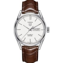 TAG Heuer CARRERA CALIBRE 5 DAY-DATE 41MM BROWN ALLIGATOR STRAP