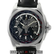 Breitling Galactic Unitime SleekT 44mm Black Dial Calf Skin...