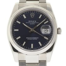Rolex Date 115200 34mm Stainless Steel Domed Blue Index...
