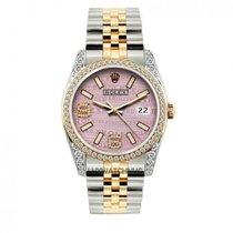 Rolex Datejust Men's 36mm Pink Dial Stainless Steel Bracelet