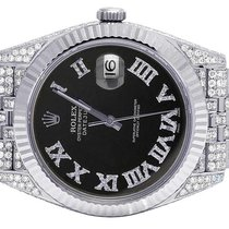Rolex Datejust II 126334 41MM Black Dial Steel Jubilee Diamond...