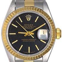 Rolex Ladies Datejust Watch 69173 Black Tapestry Dial