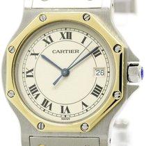 Cartier Polished Cartier Santos Octagon 18k Gold Steel Mid...