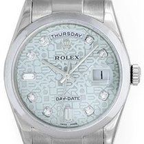 Rolex President Day-Date Men's 18k White Gold Watch Rare...