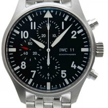 IWC Pilot Black Dial Chronograph Steel Automatic Men's...