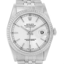 Rolex Datejust Silver Baton Dial Steel White Gold Unisex Watch...