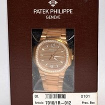 Patek Philippe Ladies Nautilus 18k Rose Gold Diamond Watch...