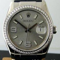 Rolex Datejust 18k White Gold Silver Wave Jubilee Diamond Dial