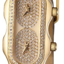 Philip Stein 18KT SOLID GOLD Pave Dial MINI Dual Time watch