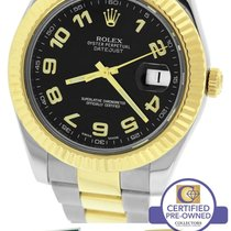 Rolex Datejust II 2 116333 Two-Tone Gold Stainless Black...