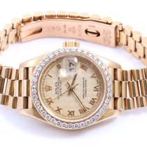 Rolex Ladies 18K Gold President- Pyramid Roman Dial - Diamond...