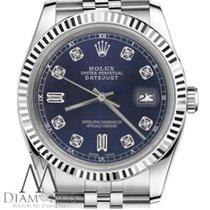 Rolex Navy Blue Rolex 31mm Datejust 6+9 Baguette Cut Diamonds ...