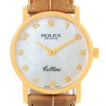 Rolex Cellini Classic 18k Yellow Gold Mop Dial Brown Strap...