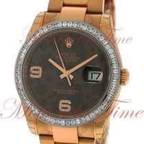 Rolex Datejust 36mm, Chocolate Floral Motif Diamond Dial,...