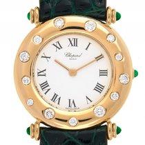 Chopard Damenuhr Diamond 18kt Gelbgold Quarz Armband Leder...