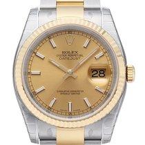 Rolex Datejust 36 mm Edelstahl Gelbgold Ref. 116233 Champagner