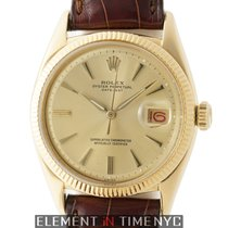 Rolex Datejust Vintage 18k Yellow Gold 36mm Champagne Pie Pan...
