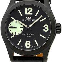 Glycine Incursore Manual Wind Black PVD Steel Mens Swiss Watch...