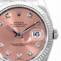 롤렉스 (Rolex) 36mm Steel Datejust Factory Salmon Diamond Dial...