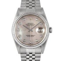 Rolex Datejust Steel Original Mother of Pearl Diamond Dial 16234