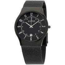 Skagen Black Dial Titanium Stainless Steel Band Men's...