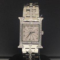 Hermès White Heure H Ladies 21mm Factory Diamonds Stainless Steel