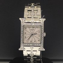 Hermès White Heure H Ladies 21mm Factory Diamonds Stainless Steel