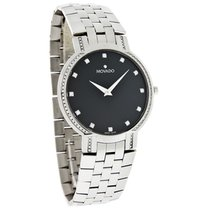 Movado Faceto Diamond Mens Black Dial Swiss Quartz Dress Watch...