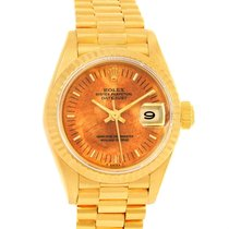 Rolex President Datejust 18k Yellow Gold Wooden Dial Ladies...