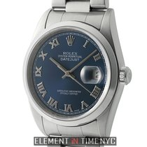 Rolex Datejust 36mm Stainless Steel Oyster Bracelet Blue Roman...