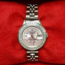 Rolex Datejust Ss Ladies Watch Pink Dial Double Row Diamond...