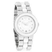 Movado Cerena Ladies White Ceramic Diamond Swiss Quartz Watch...