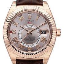 Rolex Sky-Dweller 18 kt Roségold / Leder 326135 Zifferblatt Pink
