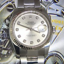 Rolex Datejust Steel/18k White Gold Bezel Silver Diamond Dial...