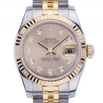 Rolex Datejust Lady Stahl Gelbgold Diamond Automatik Armband...