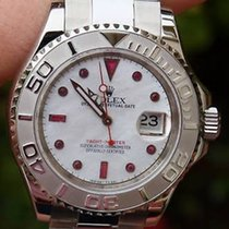 Rolex Mens Steel Platinum Yachtmaster 16622 Ruby Mother Of...
