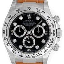 Rolex Cosmograph Daytona White Gold Watch Black Diamond Dial...