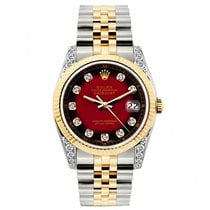 Rolex Datejust Ladies' 26mm Black And Red Dial Yellow Gold...