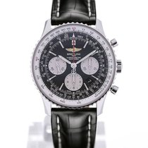 Breitling Navitimer 01 43 Black Crocodile Leather Folding Clasp