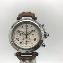 Cartier Pasha 1050 Chronograph Steel Leather Quartz Watch 38mm