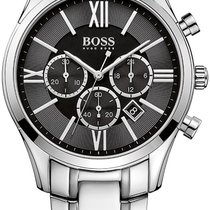 Hugo Boss Ambassador Chronograph Steel Mens Watch Black Dial...