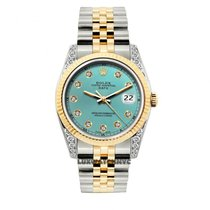 Rolex Date Unisex 34mm Ice Blue Dial Gold And Stainless Steel...