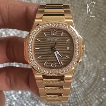 Patek Philippe Nautilus Ladies Rose Gold Diamond Bezel Gold Dial