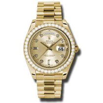 Rolex Day-Date II / President Yellow Gold Champagne Diamond  Dial