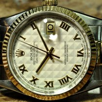 Rolex Datejust 18k Gold / Steel with White Pyramid Roman dial
