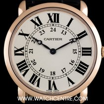 カルティエ (Cartier) 18k Rose Gold Silver Dial Ronde Louis Gents...